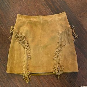 Saint Laurent Suede Fringe Skirt 40/8
